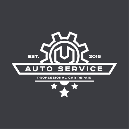 Service auto repair, wrench, logo sign flat