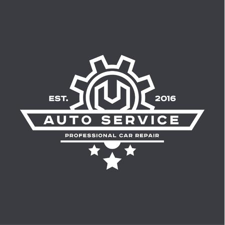 mecanico automotriz: Servicio de reparación de automóviles, llave, logotipo de la muestra plana Vectores