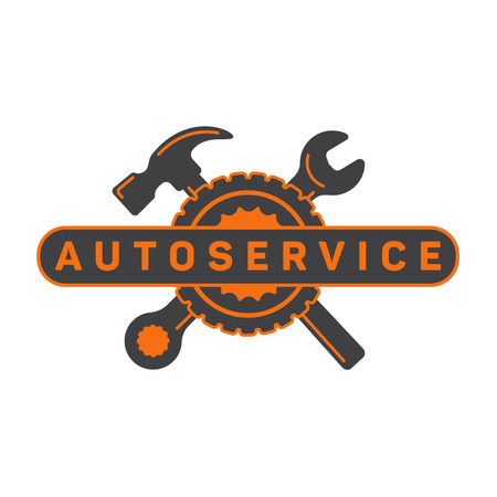 Service auto repair, wrench hammer, wheel logo sign flat