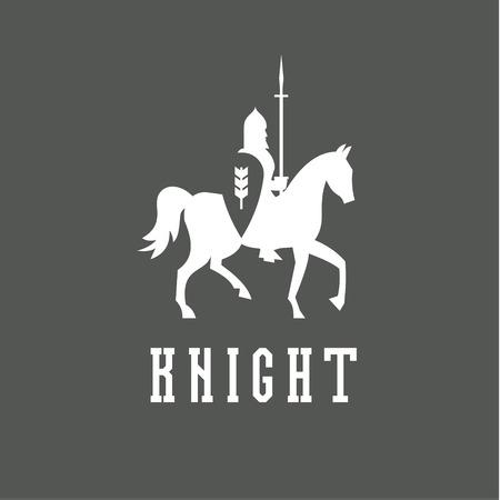 Knight on horseback with a chain mail armor, helmet, shield, spear vector ilustratsiya