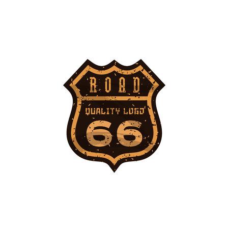 Segnale stradale, Highway 66, la grafica di marca logo del marchio di alta qualità di vettore, illustrazione piatta