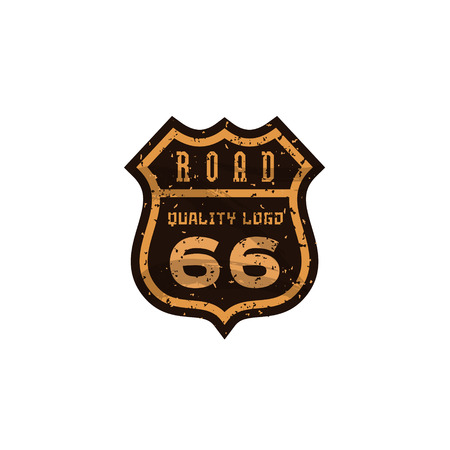 Road sign, Highway 66, high-quality brand-name brand logo vector graphics, illustration flat