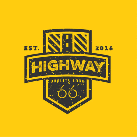 creative: Road sign, Highway 66, high-quality brand-name brand logo vector graphics, illustration flat