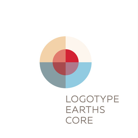 Earths crust the core section abstract geodesic flat icon logo sign of good quality. Illustration