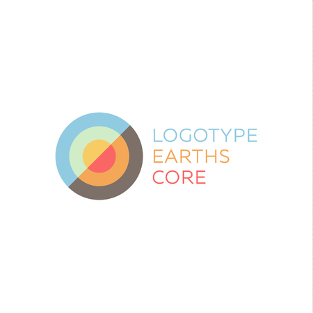 crust: Earths crust the core section abstract geodesic flat icon logo sign of good quality. Illustration