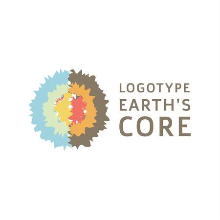 地球は地殻良い品質のコア セクション抽象的な測地線フラット アイコン ロゴ サインです。