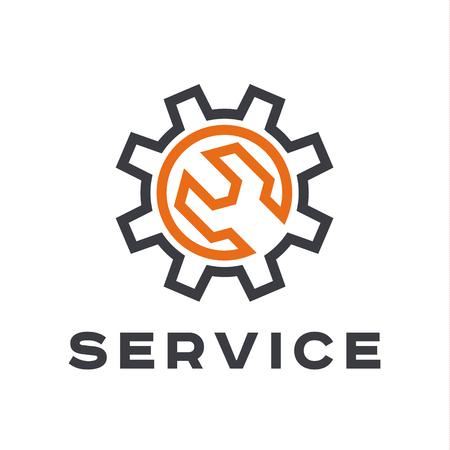Servicio de reparación de automóviles, llave, logotipo de la muestra plana Logos