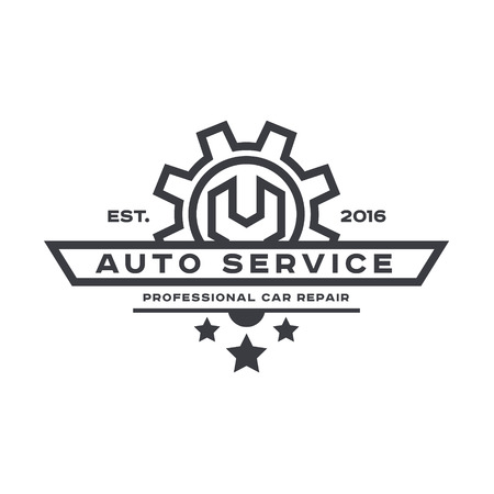 Service auto repair, wrench, logo sign flat Vectores