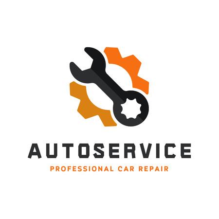 Usługi naprawy samochodów, klucz, logo znak płaskim