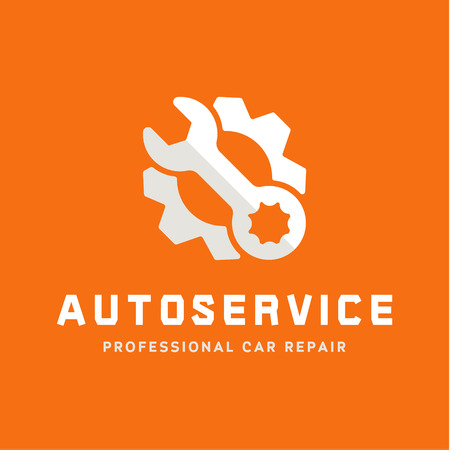 part: Service auto repair, wrench, logo sign flat Illustration