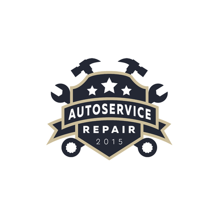 auto service: Service auto repair, coat of arms shield, wrench, hammer, logo sign flat star