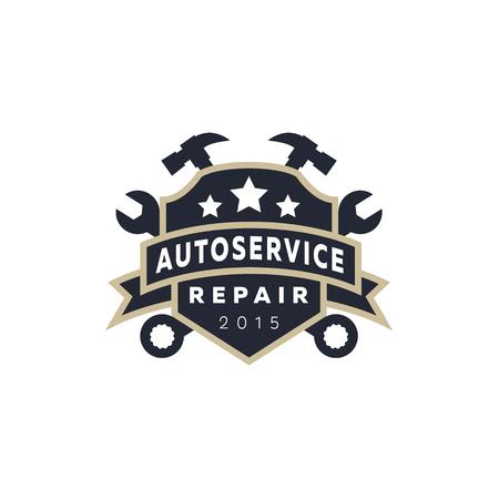 Van auto reparatie, wapenschildschild, moersleutel, hamer, logo ondertekenen flat ster Stock Illustratie