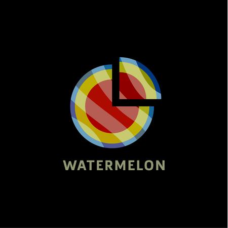 art piece: Watermelon into flat style with a triangular piece cut art