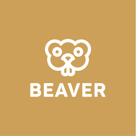 Beaver líneas vector blanco y negro de un roedor minimalismo moderno animales tendencia monograma esquema, Harek, Sonrisa con dientes ojos.