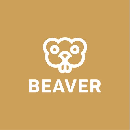 toothy: Beaver lines vector an outline monochrome minimalism modern trend monogram animal rodent, Harek, toothy smile eyes. Illustration
