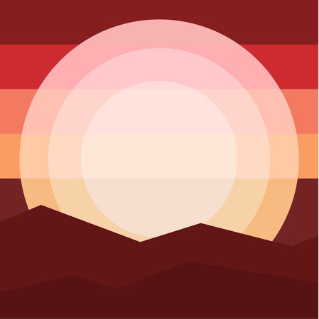 mountain sunset: Nature landscape mountain sunset. Travel, relaxation,Flat design style vector illustration. Illustration