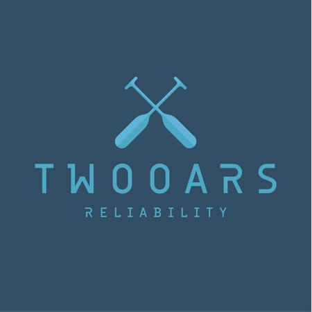 in oars: Two Oars Sign Monogram Logo in Minimalism Flat Illustration art