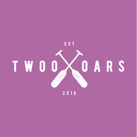 oars: Two Oars Sign Monogram Logo in Minimalism Flat Illustration art