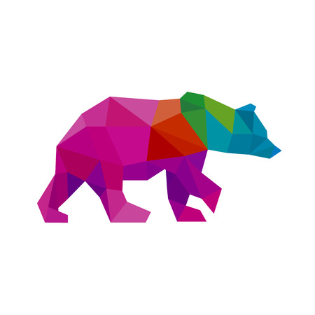 Bear color polygon rainbow in low poly style vector art