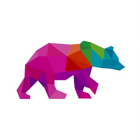 Draag kleur polygoon regenboog in lage poly stijl vector kunst Stock Illustratie
