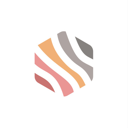 striped lines: Striped lines hexagonal sign vector template into a flat under the logo colors art