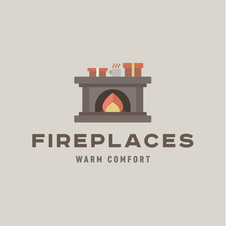fireplaces: Fireplaces into a flat Silje gifts and flame-quality unique vector ilyustraiya art