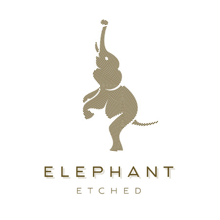 animals collection: Elephant is completely Engraved Animal Vector graphics art