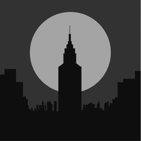 gloomy: dark gloomy night city flat silhouette illustration art