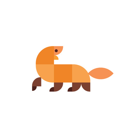mongoose: Geometric animal in flat design illustration logo mammal mongoose with a look back art