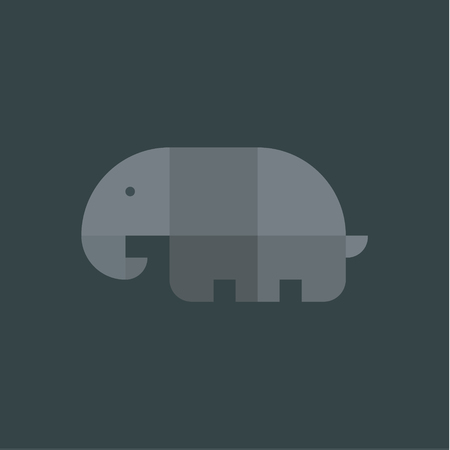 cute illustration: Elephant geometric logo illustration drawn from the squares with the flat style on gray background art