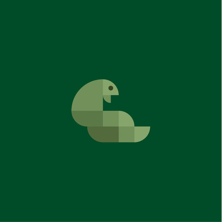 geometrically: Green snake cobra in the minimalism of squares geometrically flat style design of high-quality logo illustrations art