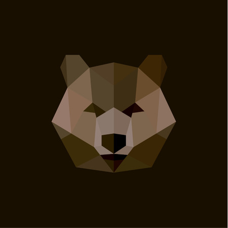 brown background: Brown Bear in the style of low poly, high-quality illustration of a wild animal design Modern Art.