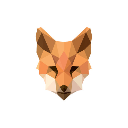 Fox polygon illustrations modern logos design animal sign brand top quality style art Çizim