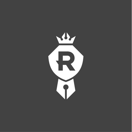 compatible: Shield is compatible with a pen and crown emblem logo with letter R, a sign of quality in the minimalism art