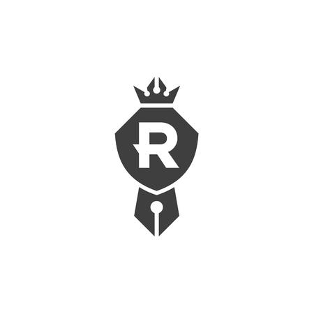 Schild is compatibel met een pen en kroon embleem logo met de letter R, een teken van kwaliteit in het minimalisme kunst Stock Illustratie