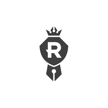 Shield is compatible with a pen and crown emblem logo with letter R, a sign of quality in the minimalism art