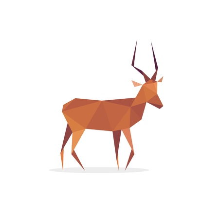 Antelope African isolated, faces polygons style logo design animal in low poly art