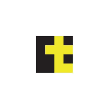 Litera T w postaci abstrakcji żółty znak wektora w stylu płaskiej, nowoczesnej sztuki minimalizmu