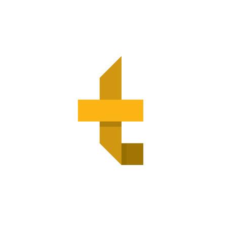 Litera T w formie abstrakcja wektor żółty znak w stylu płaski, nowoczesna sztuka minimalizm Ilustracje wektorowe