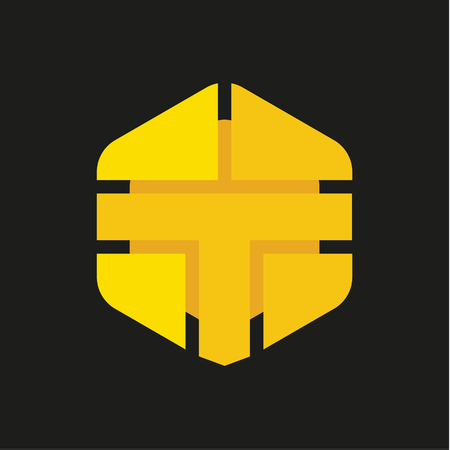 Logo Letter T in the form of abstraction yellow vector sign into flat style, modern minimalism art Logo