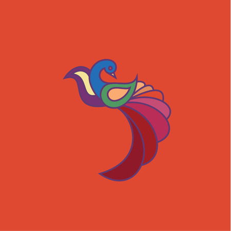 high performance: Peacock colored birds illustration of a modern design, high quality performance for your brand logo style art