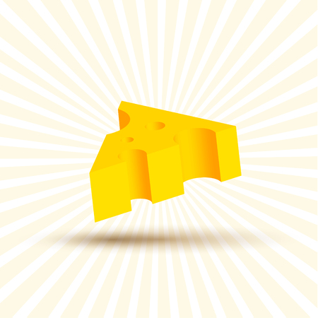 art piece: Volume of cheese illustration, realistic design beautiful yellow piece with shadow on white background art