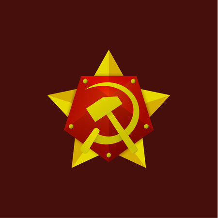 sickle: Hammer and Sickle Soviet modern star logo on the flat-style, high-quality illustrations art