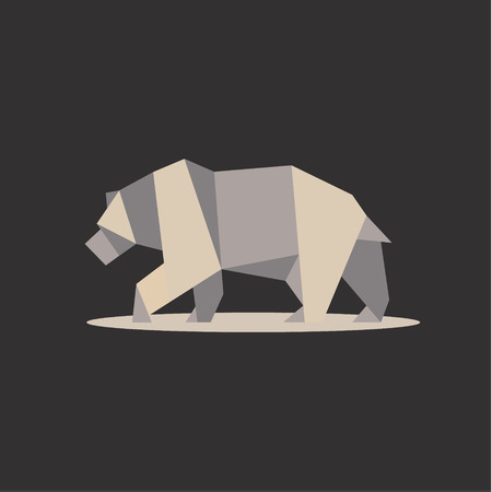 Brown bear in polygon style design on the low poly quality of modern flat logos illustrations icon art