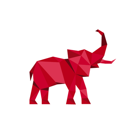 Red Elephant standing with trunk up Polygon style Animal Design Vector illustrations Low Poly Modern logo art