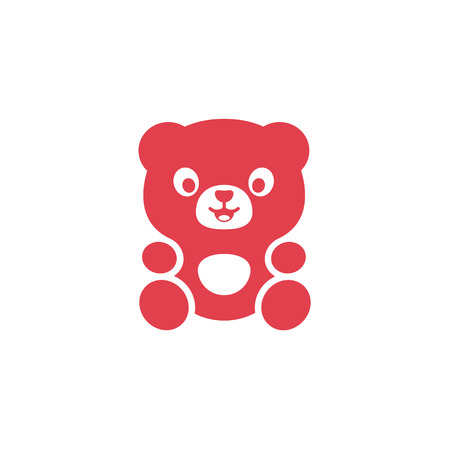 plushy: Teddy Bear logo modern flat cute plushy toy on a pink background art