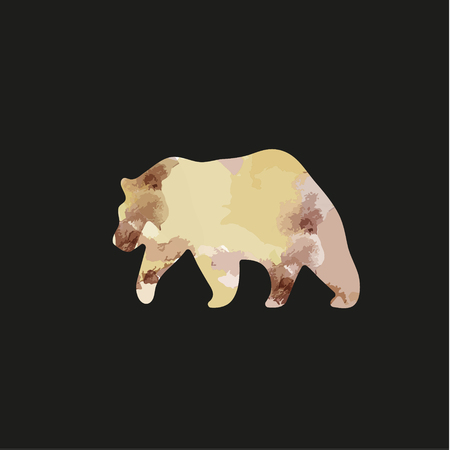 promptness: Brown bear in the style of a watercolor illustration of logo for vaeshlgo business, promptness color transitions silhouette animal vector performance art