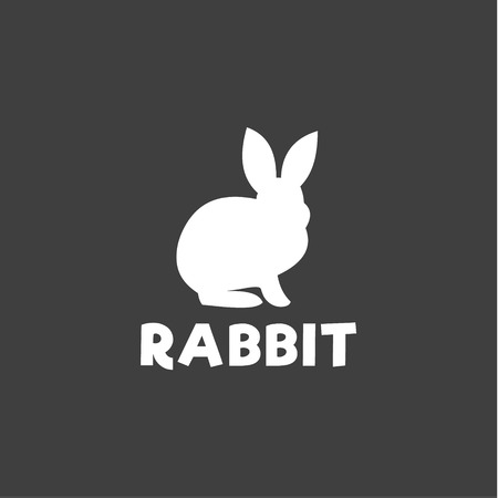 timid: Silhouette of a rabbit sitting under a logo, pet modern design flat-style qualitative icons drawing initial submissions art