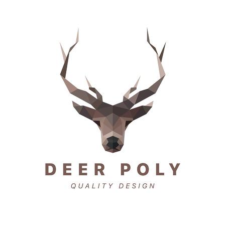 horned: Deer low poly vector illustration polygons horned art