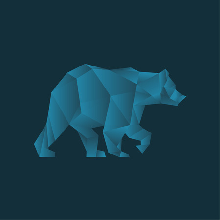 Blue Bear in polygons gradient trend style design low poly illustrations on the background art